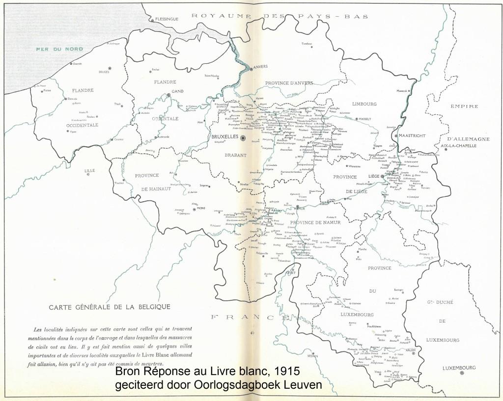Elk dorpje of stadje dat in augustus-september 1914 met wreedheden tav de bevolking kreeg te maken staat op deze kaart. Concentraties zijn duidelijk rond Luik waar het geweld op de bevolking plaatsvond tussen 4-16 augustus of de periode van de gevechten rond de Luikse fortengordel. De geweldplegingen in de zone Tienen-Aarschot kunnen in verband worden gebracht met de Belgische verdediging rond de Getelinie van 18-19 augustus 1914. Tussen 21-23 augustus braken gevechten uit op een front dat zich tussen Mons en de Gaume uitstrekte. Als gevolg daarvan zijn de dorpjes en stadjes langs de Samber en Maas ten zuiden van de vesting Namen aangepakt. Rond 22-23 augustus werden de dorpjes in de streek van Neufchateau-Virton aangepakt als gevolg van de gevechten tussen Duitse en Franse troepen in deze streek. Tot slot teisterden Duitse troepen de hele regio tussen Leuven-Mechelen-Vilvoorde op 25-26 augustus 1914, toen het Belgische leger een uitval tegen het meest noordelijke gelegen Duitse front deed. (Bron kaart Réponse au Livre blanc, 1915)