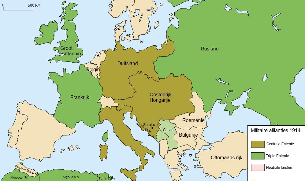 Internationale bondgenootschappen in Europa (juli 1914)