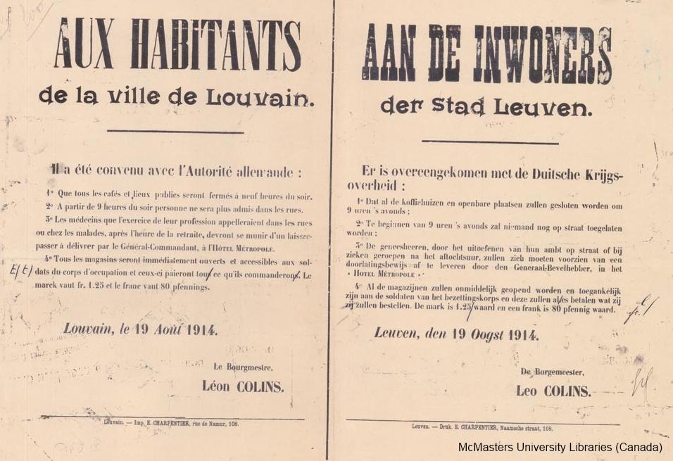 Richtlijnen voor de bevolking naar aanleiding van de Duitse machtsovername in Leuven op 19 augustus 1914