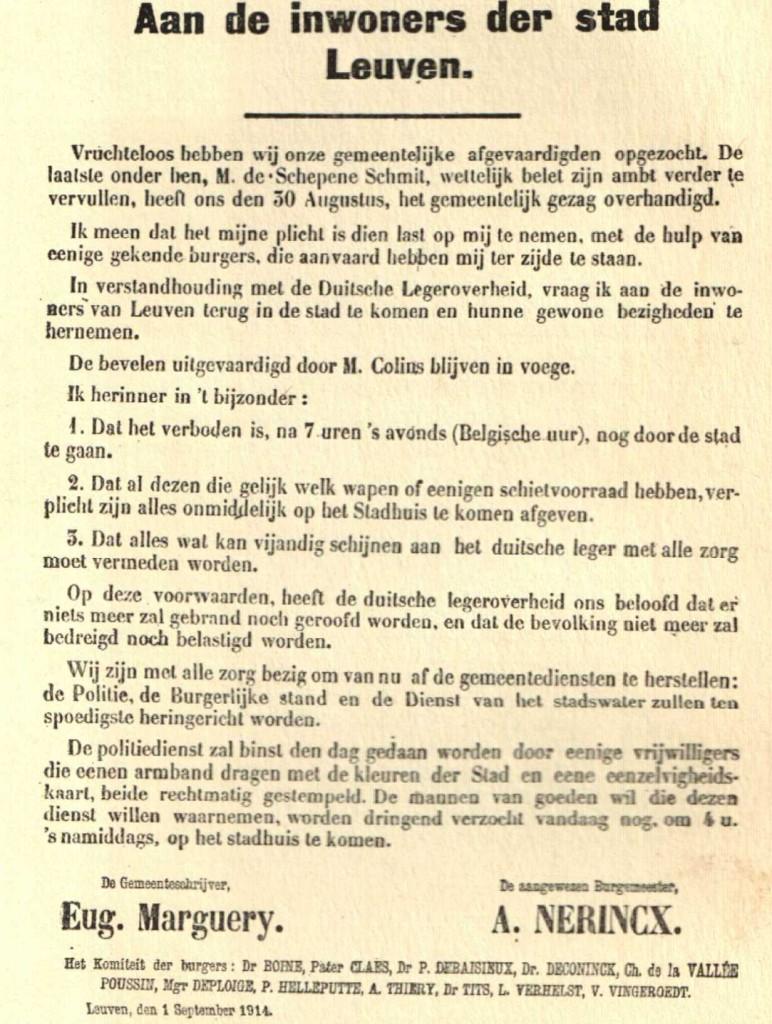 Affiche van 1 september 1914 die de aanstelling van een dienstdoend burgemeester en het 'Comité van Notabelen' aankondigt.