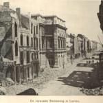 Statiestraat, uitspringend gebouw is de stadsschouwburg (Gedenkboek Europese oorlog)