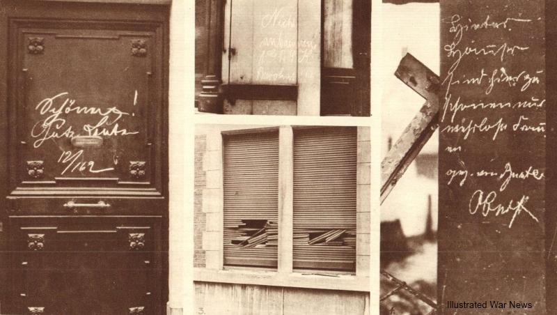 """""""Gute Leute"""" werd met krijt op de deuren geschreven, om plundering of brandstichting te voorkomen."""