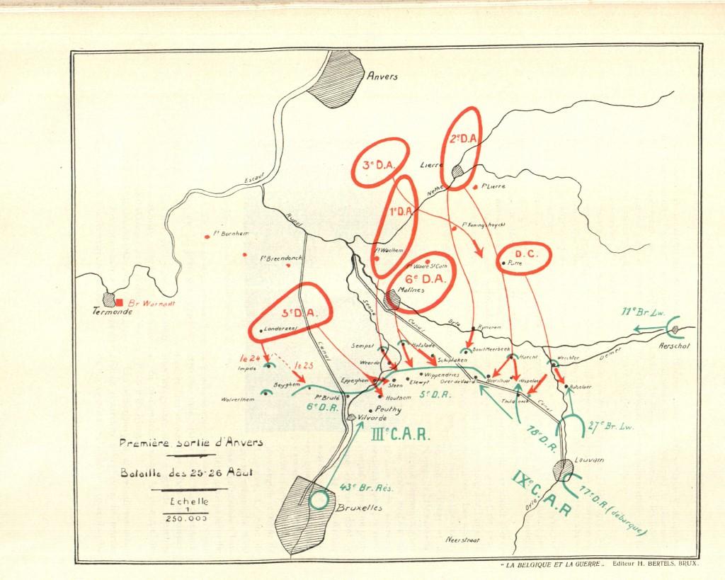Uitval van het Belgische leger op 25-26 augustus 1914.  Het Duitse front bevond zich ten zuiden van Mechelen (kaart Tasnier & Van Overstraeten 1926, p. 139)