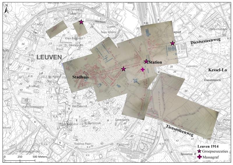 Ongeveer één vierde van de toenmalige Leuvense binnenstad lag in puin. Een heel stadsdeel was totaal onbewoonbaar als gevolg van de brandstichtingen tussen 25 augustus en 2 september 1914 (© kaart Hilde Verboven)