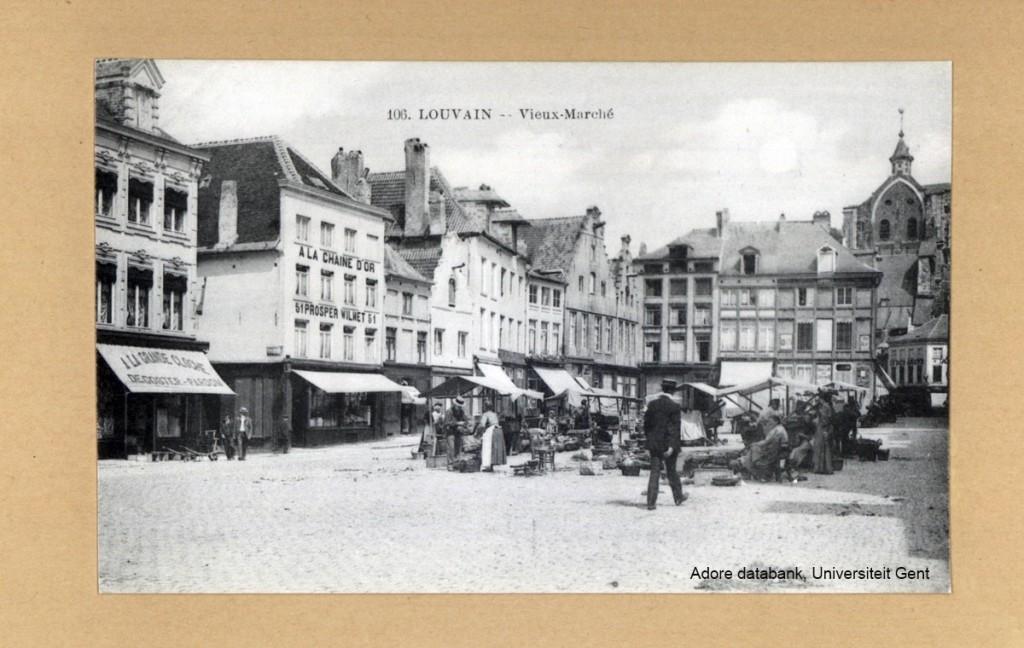 Groentenmarkt op de Oude Markt (Adore beeldbank, universiteit Gent)
