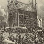 Schets van het stadhuis en de brandende omgeving; augustus 1914 (foto Gedenkboek Europese oorlog)