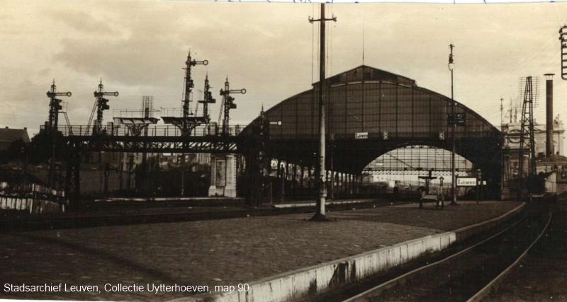 Het station in Leuven tijdens de Duitse bezetting  van 1914-18 (foto Stadsarchief Leuven)