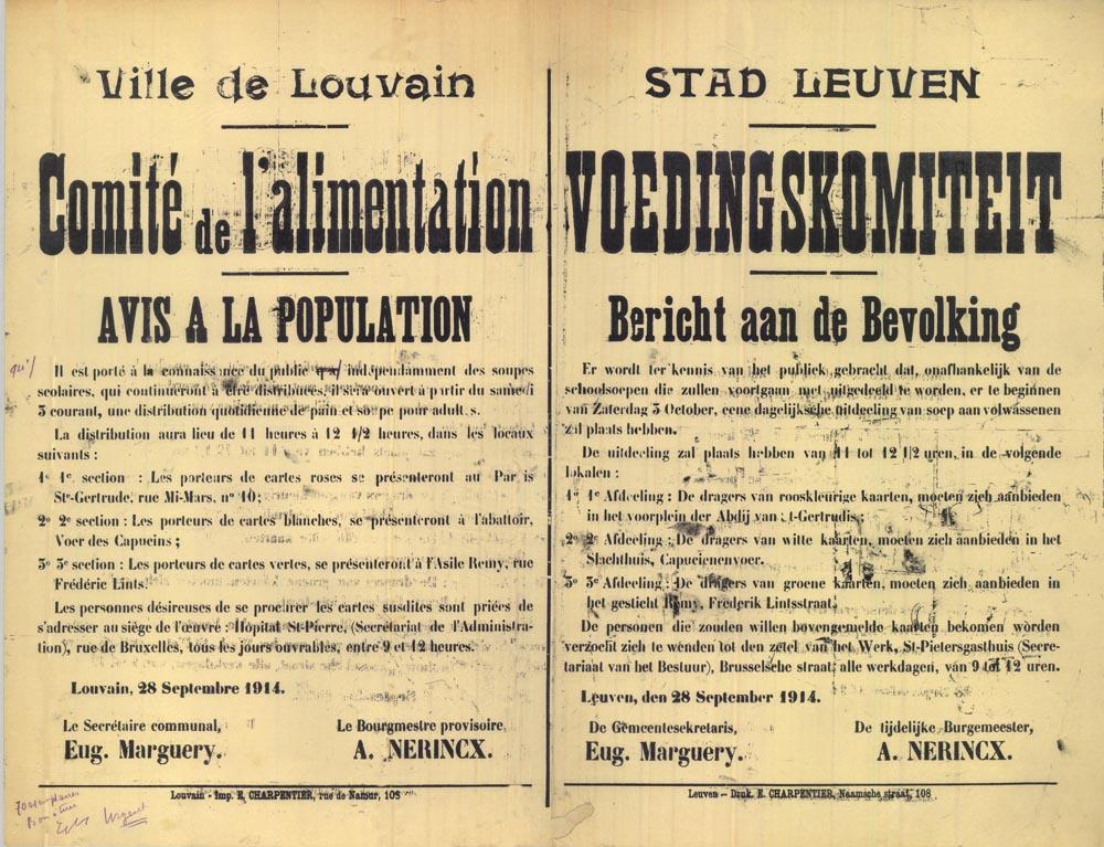 Op 28 september 1914 maakte de stad met deze affiches bekend dat vanaf 3 oktober op drie plaatsen in de stad soep aan hulpbehoevenden werd uitgedeeld (foto McMaster University Libraries Canada)