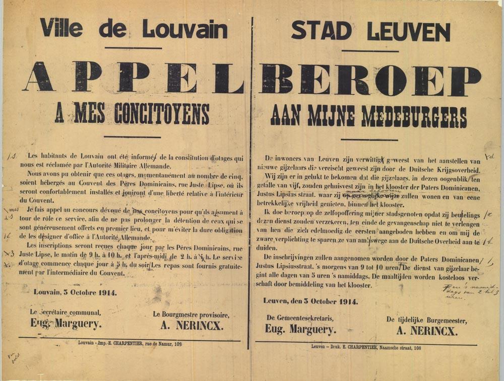 Oproep voor vrijwillige dienstneming als gijzelaar  voor de Duitse Kommandantur in Leuven (foto cMasters University and Libraries, Canada)