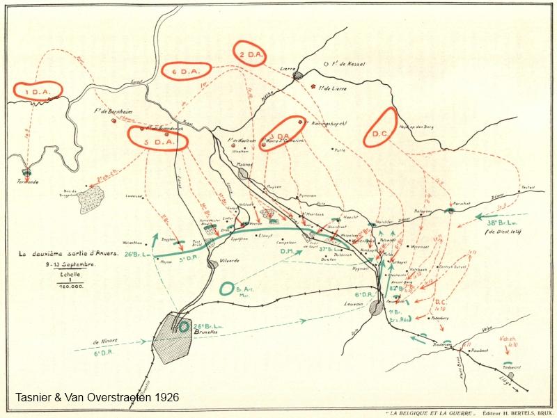 Tussen 9 en 13 september 1914 viel het Belgisch leger  de voorbijtrekkende Duitse troepen aan op het front tussen Leuven en Vilvoorde. Aarschot werd enkele dagen heroverd, Leuven niet. (kaart Tasnier & Van Overstraeten 1926)