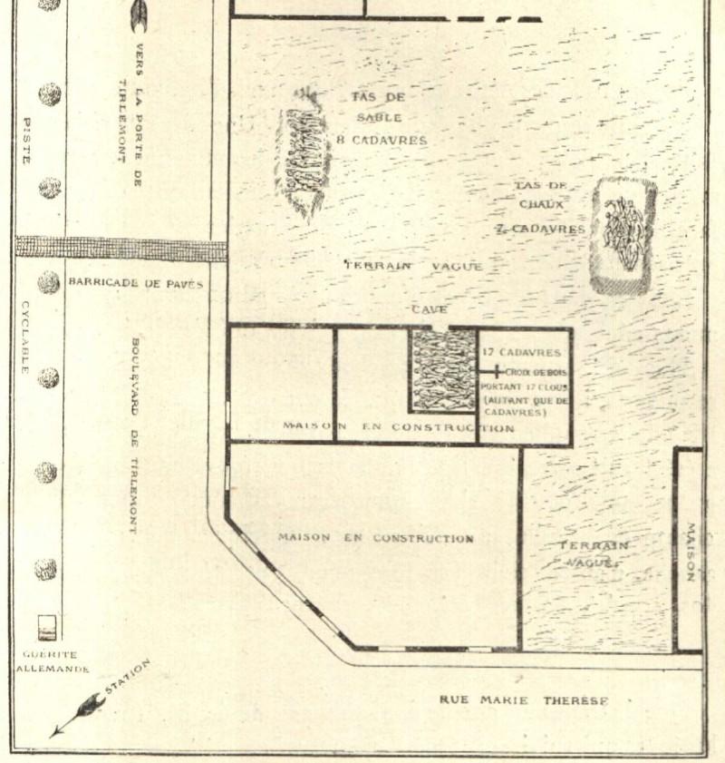 Fuglister maakte een schema van de massagraven die op de bouwgrond op de hoek van de Tiensevest - Maria-Theresiastraat werden blootgelegd (Fuglister, Louvain. Ville Martyre)