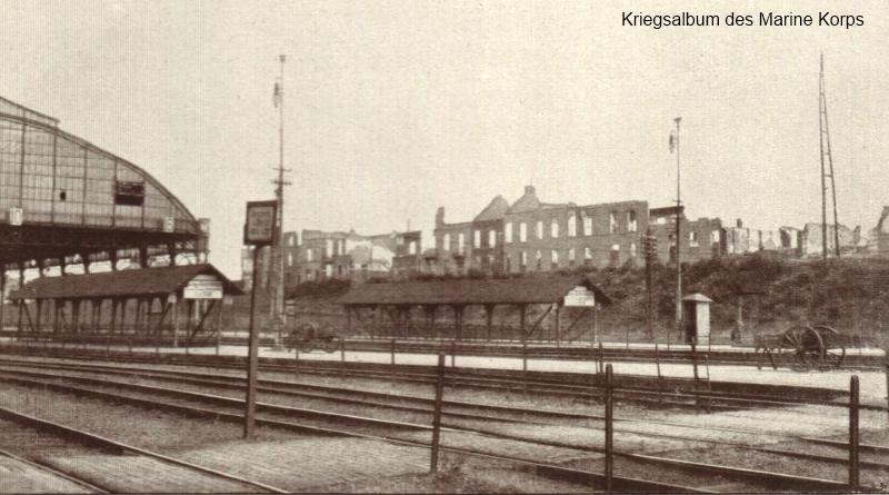Tiensevest (?) nabij het station van Leuven (foto Kriegsalbum des Marine Korps)