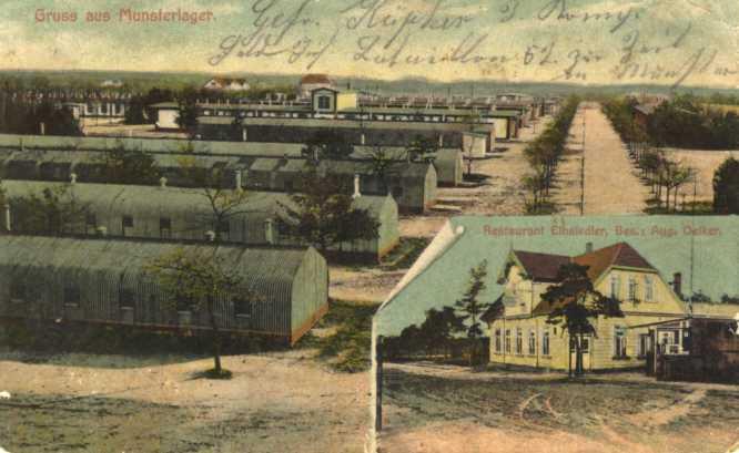 Het barakkenkamp van Munster voor opgepakte burgers en krijgsgevangenen (foto Munster in alten Ansichten)