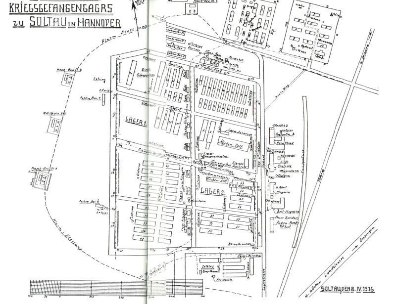 Plattegrond van kamp Soltau met ongeveer 71 barakken voor 16.000 gevangenen (foto Klaus Otte 1999)