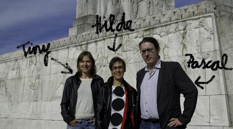 Dit zijn de makers van Oorlogsdagboek Leuven: Tiny T'Seyen communicatie, Hilde Verboven concept, research, scenario, Pascal Lacroix digitale ondersteuning (foto Eric Dewaersegger)