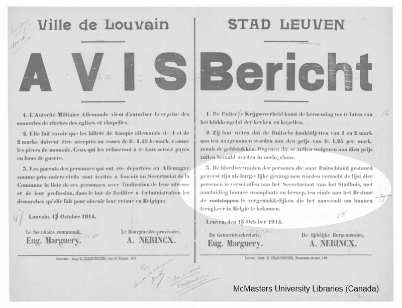 Dienstdoend burgemeester Nerincx riep al in oktober 1914 de Leuvenaars op om de namen van gedeporteerden op het stadhuis aan te geven, zodat tenminste geweten was wie als burgerlijke gevangene in kampen was opgesloten.