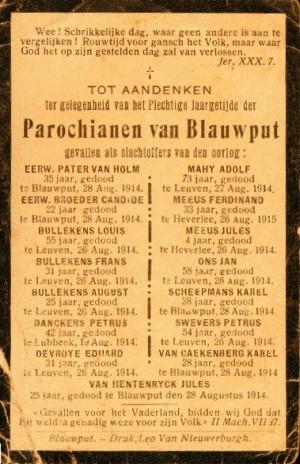Rouwprent voor de omgekomen parochianen van Blauwput, waaronder Jules en Fernand Meeus (foto Europeana databank)